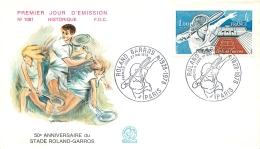 PREMIER JOUR D'EMISSION F.D.C. N°1081 27/05/1978  50e ANNIVERSAIRE STADE ROLAND GARROS - FDC