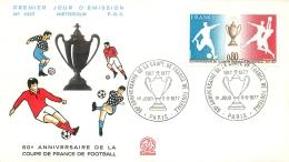 PREMIER JOUR D'EMISSION F.D.C. N°1027  11/06/1977 60e ANNIVERSAIRE DE LA COUPE DE FRANCE DE FOOTBALL - 1970-1979