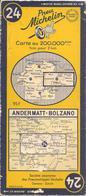 CARTE-ROUTIERE-MICHELIN-N °24-1952-ANDERMATT-BOLZANO-PAS De COUPURES- BE - Cartes Routières