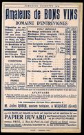 Buvard Vergèze Gard Robin Ancien Notaire Vins Domaine D'Entrevignes 12x18cm - Buvards, Protège-cahiers Illustrés