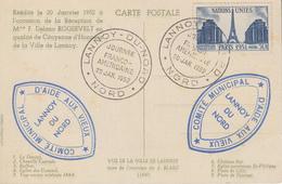 Carte  FRANCE   Journée   Franco - Américaine   LANNOY   1952 - Postmark Collection (Covers)
