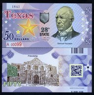 USA States, Texas, $50, Polymer, Not Dated (2017), UNC Samuel Houston, The Alamo - Andere
