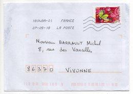 """2018--tp Adhésif Du Carnet """"L'ouie""""  Seul Sur Lettre - Marcophilie (Lettres)"""