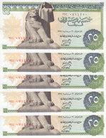 EGYPT 25 PT 1974 P-42 Sig/ZENDO #14 LOT X5 UNC NOTES */* - Egypt