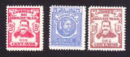 Honduras, Scott #152, 154, 157, Mint Hinged, Sierra, Bonilla, Issued 1913 - Honduras