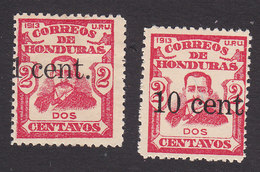 Honduras, Scott #162, 165, Mint Hinged, Sierra Surcharged, Issued 1914 - Honduras
