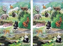 X2 2014 100th Taipei Zoo S/s Serow Pangolin Elephant Bear Tiger Giant Panda Koala Frog Crocodile Monkey Flower Train - W.W.F.
