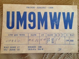 Kyrgystan USSR Period  Amateur Radio Station Card 1986 - Kyrgyzstan