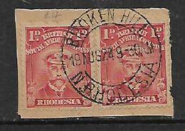 S.Rhodesia / B.S.A.Co., 1d Admirals, 2 Singles, BROKEN HILL N. RHODESIA 18 AUG 24 C.d.s. On Fragment - Southern Rhodesia (...-1964)
