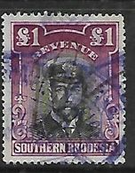 S.Rhodesia / B.S.A.Co., 1924, £1 Revenue Stamp, Admiral, Used - Southern Rhodesia (...-1964)