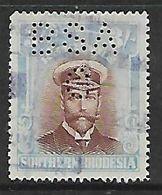 S.Rhodesia / B.S.A.Co., 1924, 3/= Revenue Stamp, Admiral, Used & Perfin BSA - Rhodésie Du Sud (...-1964)