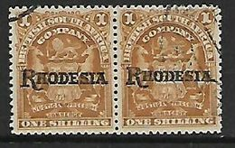 S.Rhodesia / B.S.A.Co., 1909 Rhodesia Opt On BSACo, 1/= Missing Stop In Pair With Nornmal - Southern Rhodesia (...-1964)