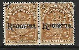 S.Rhodesia / B.S.A.Co., 1909 Rhodesia Opt On BSACo, 1/= Missing Stop In Pair With Nornmal - Rhodésie Du Sud (...-1964)