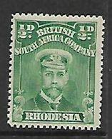 S.Rhodesia / B.S.A.Co., 1913, Admiral, 1/2d, Green, Perf 15, MH * - Rhodésie Du Sud (...-1964)