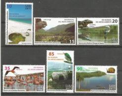 Cuba 2017 Enviroment Day (Turtles, Birds, Flamingos, Caracol, Snail, Cocodrile, Jutia, Ship) 6v + S/S MNH - Climbing Birds