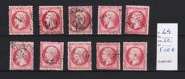 FRANCE N° 24 X 10 Ex.obl. Divers  Tb D'aspect   ( Pas D'aminci ) Cote 500  Euros - Stamps