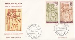 Enveloppe  FDC   1er  Jour   MALI  Sauvegarde  Des  Monuments  De   Nubie   1963 - Egyptology
