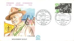 PREMIER JOUR D'EMISSION F.D.C. N°1263  20/02/1982  MOUVEMENT SCOUT SCOUTISME 75e ANNIVERSAIRE - FDC