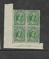 Australia, 1942, 1 1/2d Green, (Queen Elizabeth) Imprint Corner Block Of 4, MNH ** - Mint Stamps