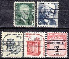 USA Precancel Vorausentwertung Preo, Locals Pennsylvania, Rouseville 841, 5 Diff. - Vorausentwertungen