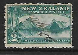New Zealand, 1903, 2/= Milford Sound, Revenue M/s Cancelled - 1855-1907 Crown Colony