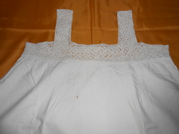 Chemise Ancienne Coton Blanc -  Haut Et Bretelles Dentelle Fait Main - - 1900-1940