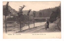CPA Vallée De L'Ourthe - Pont De Chemin De Fer à SY - Animation (2 Personnages) - Circulée 1906 - Ferrieres