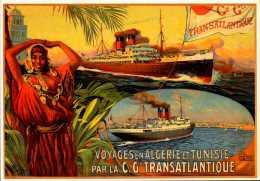 Publicité  -  Voyages Algérie Tunisie  -   Compagnie Générale Transatlantique - Repro - SC73-5 - Werbepostkarten