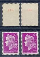 D- [204855] **/Mnh-France 1967 - N° 1536b, 30c Lilas, Marianne De Cheffer, Gomme Mate, N° Rouge Au Verso, En 2 Nuances. - 1967-70 Marianne Of Cheffer
