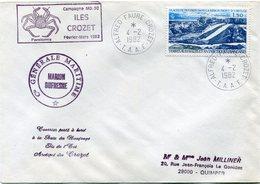 """T. A. A. F. LETTRE AVEC CACHET """"CAMPAGNE MD-30 ILES CROZET FEVRIER-MARS 1982"""" DEPART ALFRED-FAURE-CROZET 4-2-1982....... - Cartas"""