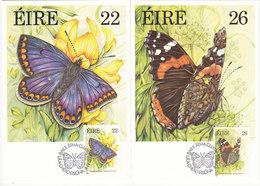 IRELAND Butterflies, Schmetterlinge, Farfalla, Mariposa - 4 Maximum Cards 1985, Mi# 559-62 - Cartoline Maximum