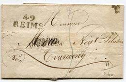 MARNE De REIMS LSC De 1827 Avec Linéaire 26x11,5 Taxe Bleue De 5 Pour TOURCOING - Storia Postale