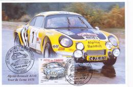 Carte Maximun - Alpine Renault A110, Tour De Corse 1975/Fête Du Timbre 2018 à Lacrost (71) JP Nicolas - Vincent Laverne - Cartes-Maximum