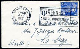 Enveloppe 10x6cm - Flamme Flier Illustrée De Rennes - 1921-1960: Période Moderne
