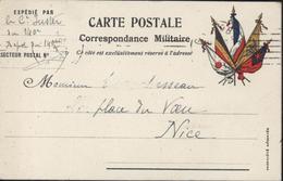 Guerre 14 Carte Correspondance Militaire En Franchise Drapeaux Japon Belgique France Russie Grande Bretagne FM - Military Service Stampless
