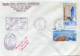 """T. A. A. F. LETTRE PAQUEBOT- MIXTE MARION-DUFRESNE """"CAMPAGNE NEOKER"""" AVEC OBL  MARTIN-DE-VIVIES-ST PAUL-AMS 28-2-1984 - Cartas"""