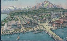 POSTAL SUIZA - LUZERN - SCHILLER-HOTEL GARNI - E GOETZ - KUNSTANSTALT 5846 - CIRCULADA - LU Lucerne