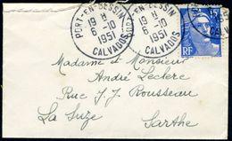 2 Enveloppes - Cachets De Port-en-Bessin (Calvados) - Marianne De Gandon 15F (bleu Et Rouge) (voir 2 Scans) - 1921-1960: Modern Period
