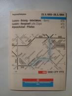 SBB SCHWEIZERISCHE BUNDESBAHNEN. LUZERN-BRÜNIG-INTERLAKEN / LUZERN-HERGISWIL / ALPNACHSTAD-PILATUS - SCHWEIZ, 1994. - Spoorweg
