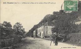 Cpa Pléchâtel-st Malo De Phily, Hôtel De La Gare Et Le Rocher D'uzel - France