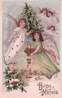 Buon Natale, Angelots, Houx Et Sapin De Noël, Litho Gaufrée + Timbre Taxe Suisse (170) - Anges