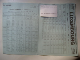 LUXAIR. TARIFS NORMAUX ET SPECIAUX / HORAIRE / WORKING TIMETABLE - LUXEMBOURG, 1989. - Timetables