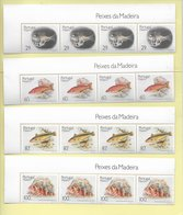 TIMBRES - STAMPS - PORTUGAL -1989- POISSONS DE ÎLE DE MADEIRA - 4 SÉRIES AVEC TIMBRES NEUFS - MNH  - BORD FEUILE - Peces