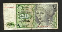 DEUTSCHLAND - DEUTSCHE BUNDESBANK - 20 MARK (Frankfurt Am Main 1980) - [ 7] 1949-… : FRG - Fed. Rep. Of Germany