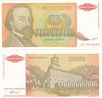 Yugoslavia - 5000000000 Dinara 1993 UNC Pick 135a Ukr-OP - Yugoslavia