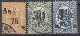 FINNLAND 1921  MiNr: 106+107+110  Used - Gebraucht