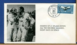 USA - 1965 - GEMINI GT-5 Splash-down ATLANTIC - 8 DAYS IN SPACE - ASTRONAUT CONRAD And COOPER - FDC & Commémoratifs