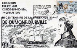 Taaf Terre Adélie Bi Centenaire De Dumont Durville Oblitération De Condé/sur/Noireau Expo Du19/20 Mai 1990 - Brieven En Documenten