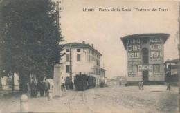 T.951.  CHIARI - Brescia - Piazza Della Rocca - Partenza Del Tram - 1917 - Italia