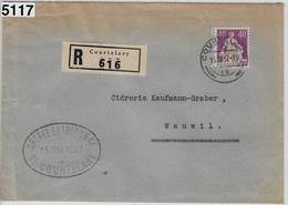 1937 Recommande Courtelary 15.III.37 Greffe Du Tribunal Mit Gebührenmarke Canton Bern 176z/208z To Wauwil - Suisse
